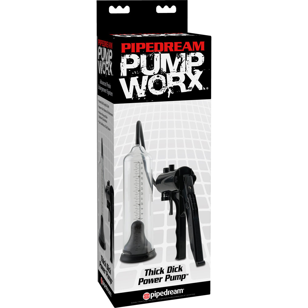 """Pump Worx Thick Dick Power Pump 7.75"""" by 2.25"""" Clear/Black - View #3"""