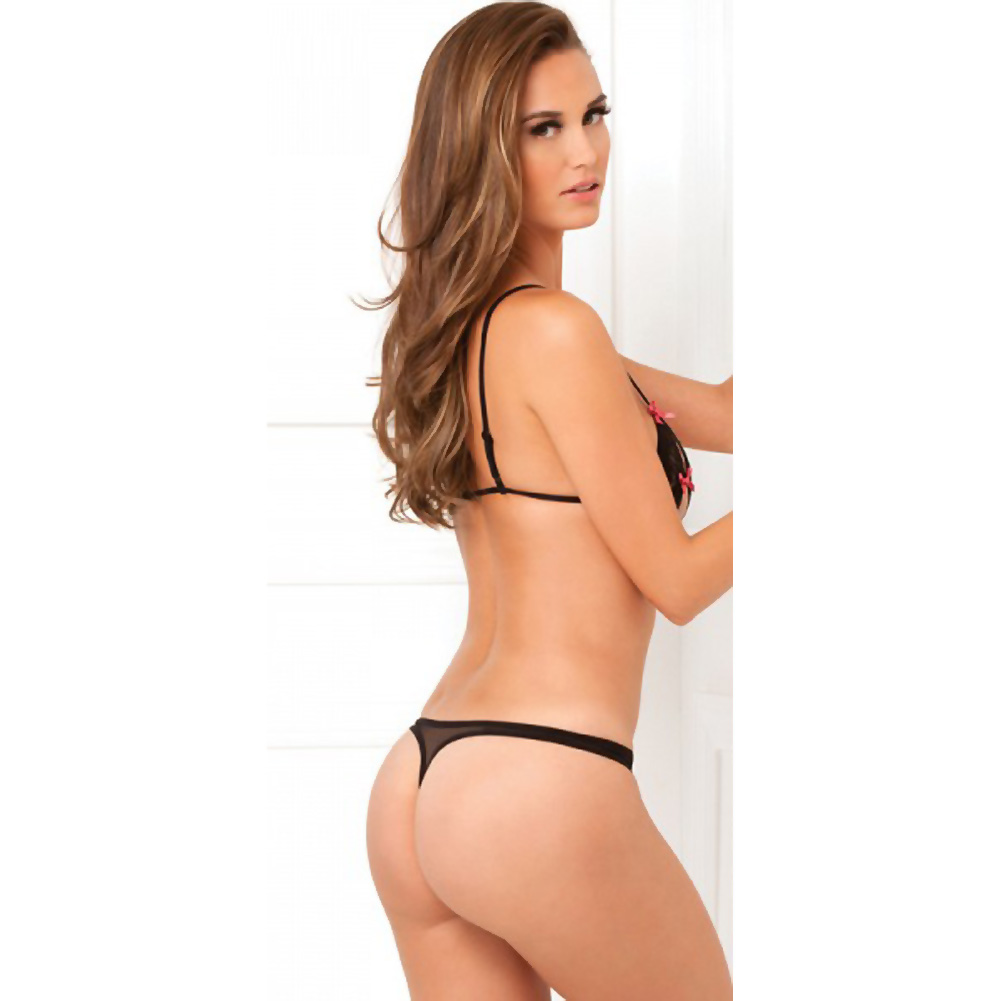 Rene Rofe Lace Peek-a-Boo Bra and Crotchless Thong Medium/Large Black - View #2