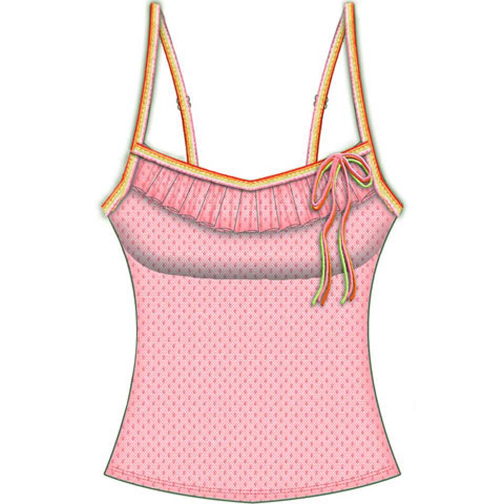 Necessary Objects Rainbow Bright Built in Bra Cami Large Pink - View #2