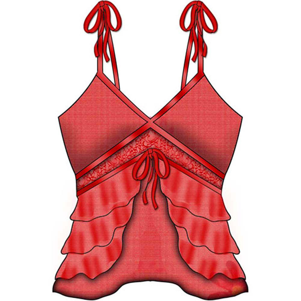 Necessary Objects Take a Bow Slit and Sheer Cami Small Red - View #2