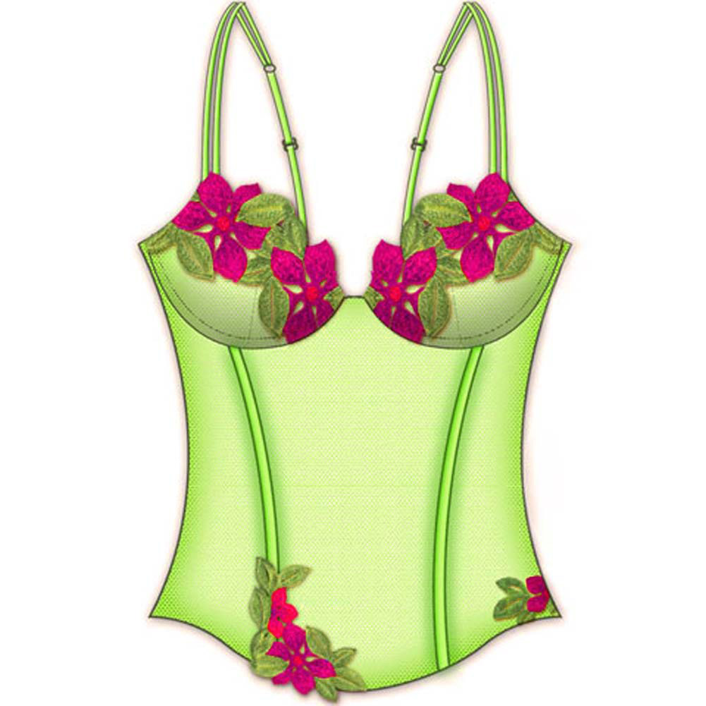 Necessary Objects Wildflower Boned Princess Line Corset 34C Lime - View #2