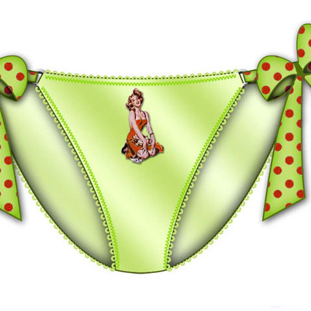 Centerfold Tied Bows Bikini Small Green - View #2