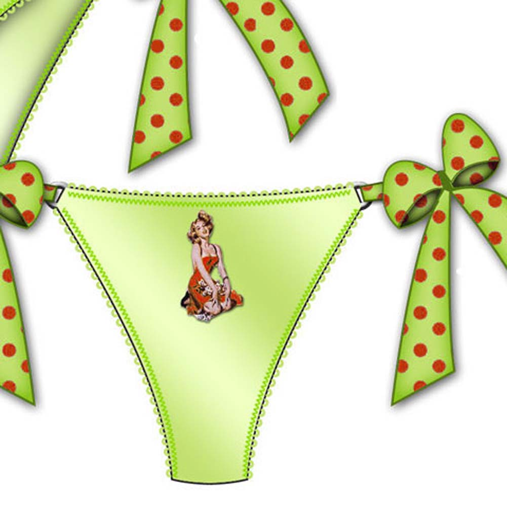 Centerfold Side Bow Thong Small Green - View #2