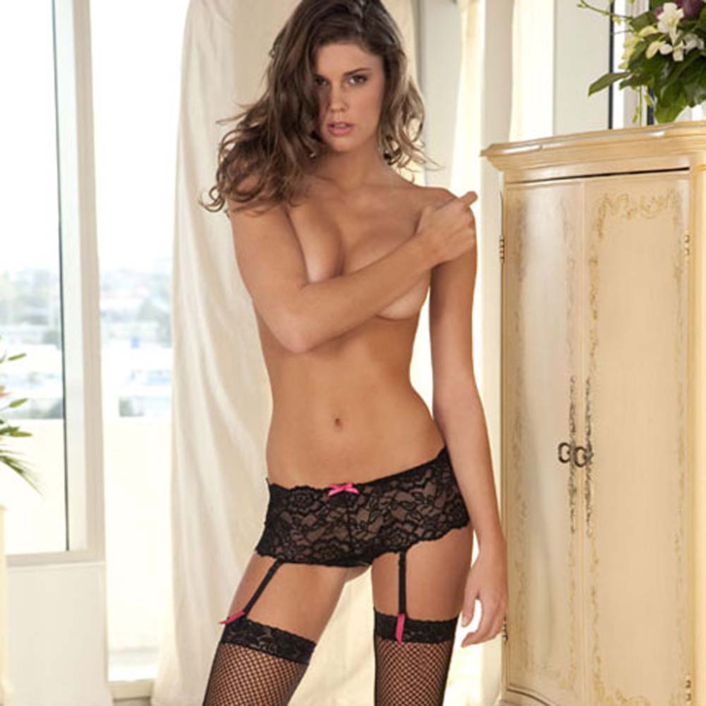 Crotchless Lace Boyleg Panty with Removable Garters Medium-Large Black - View #3
