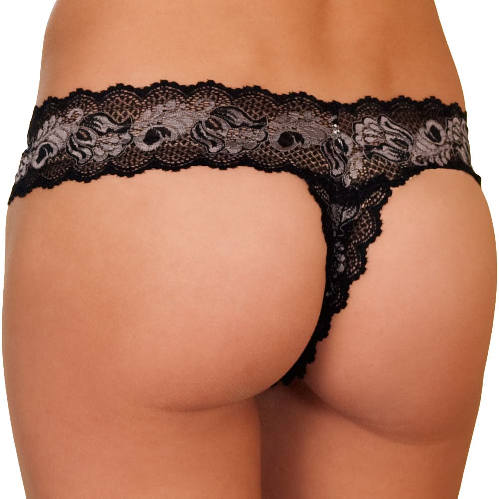 Crotchless Lace V Thong Panty Small-Medium Black - View #2