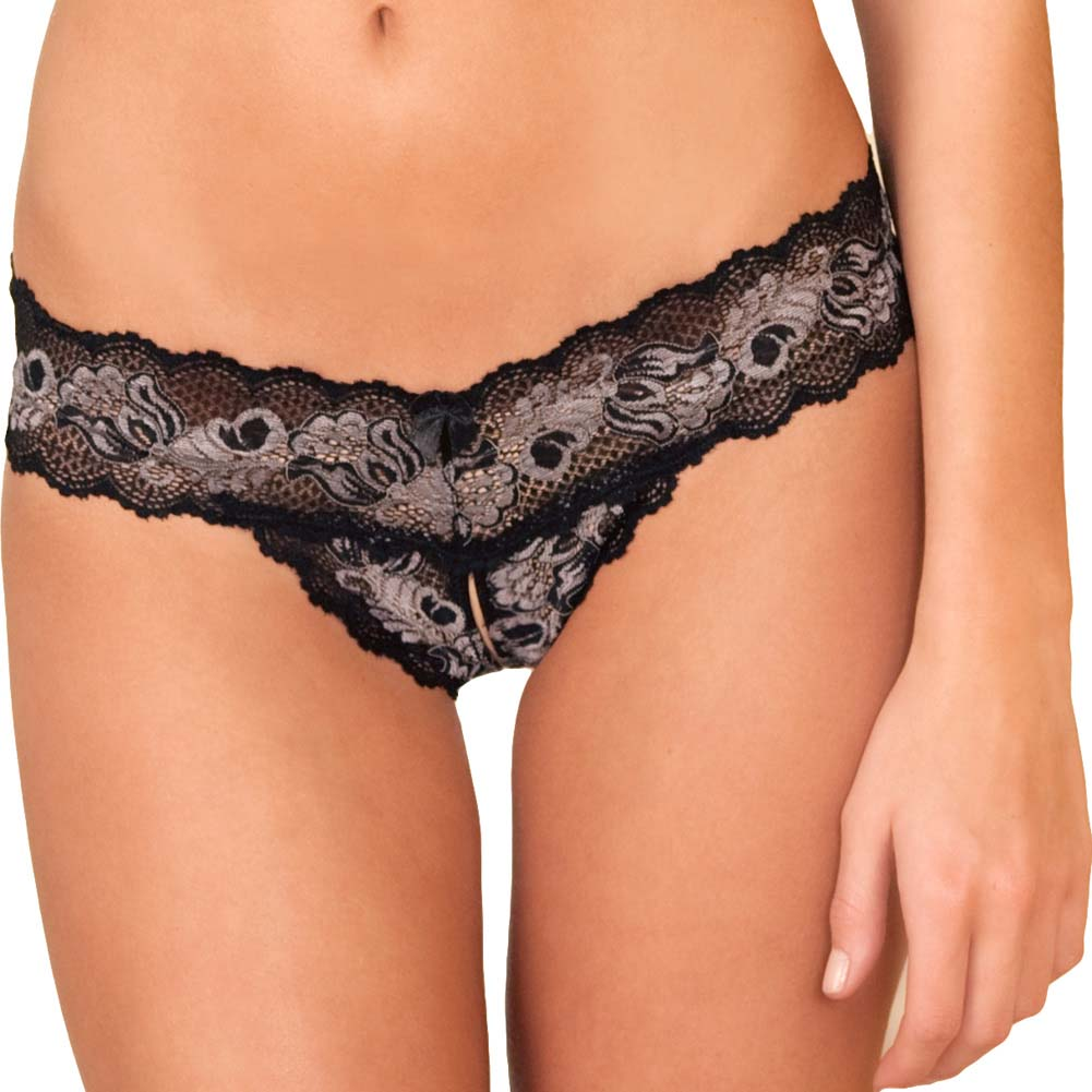 Crotchless Lace V Thong Panty with Bows Medium/Large Black - View #1