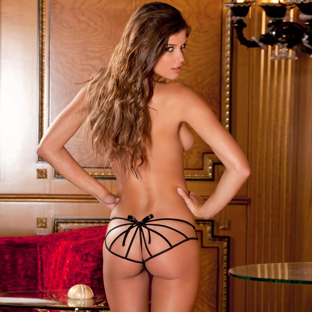 Rene Rofe Cage Back Crotchless Boyshort Medium/Large Black - View #3