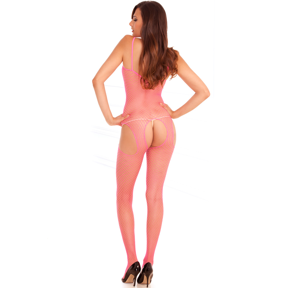 Rene Rofe Tank and Suspender Industrial Net Bodystocking One Size Hot Pink - View #2