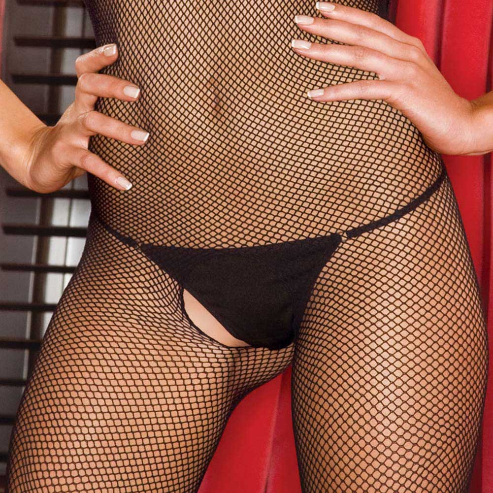 Foxy Low Back Halter Tied Net Bodystocking One Size Fetish Black - View #4