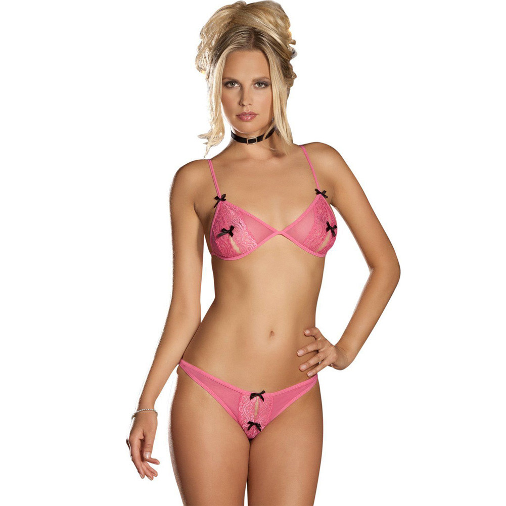 Rene Rofe Lace Peek-a-Boo Bra and Crotchless Thong Small/Medium Pink - View #1