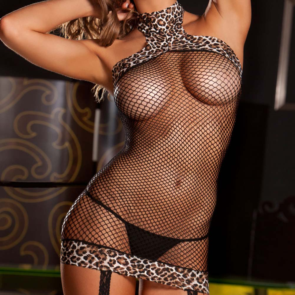 Leopard Halter Fishnet Dress with Built in Thigh Highs One Size Black - View #3