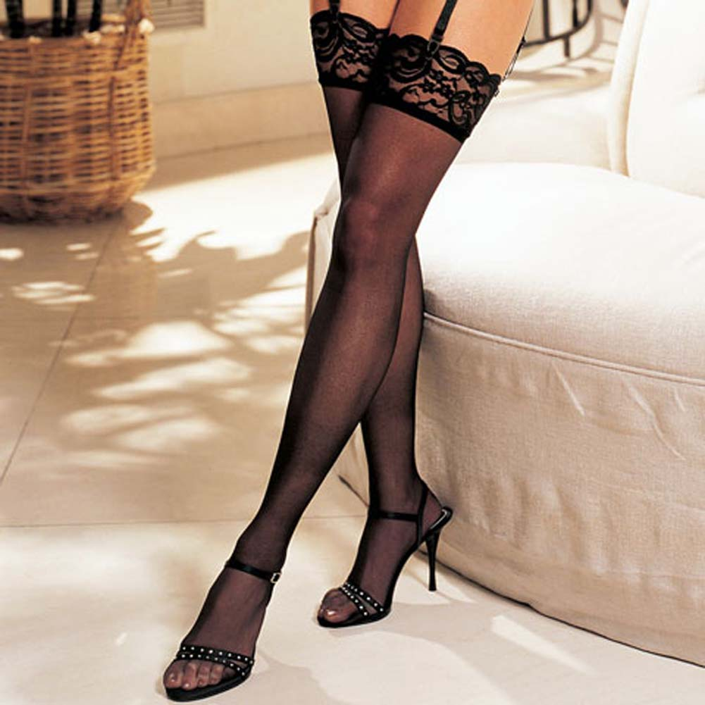 Shirley of Hollywood Sheer Lace Top Thigh High Stockings One Size Black - View #2