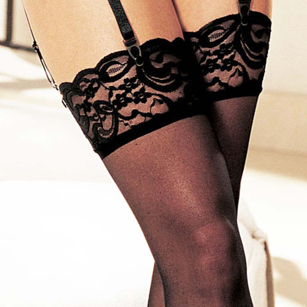 Shirley of Hollywood Sheer Lace Top Thigh High Stockings One Size Black - View #3