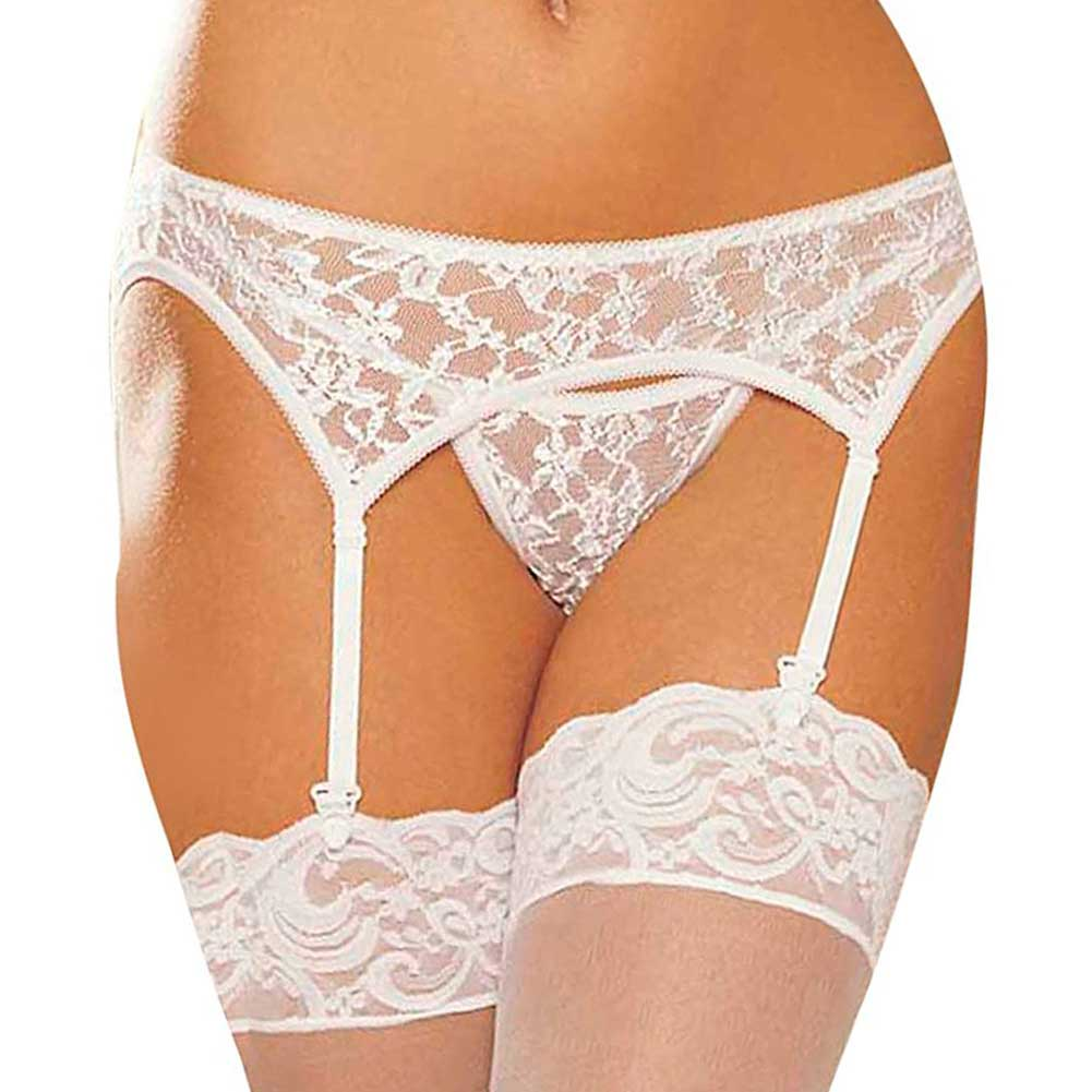 Shirley of Hollywood Lace Garter Belt and Lace G-String Set One Size White - View #1