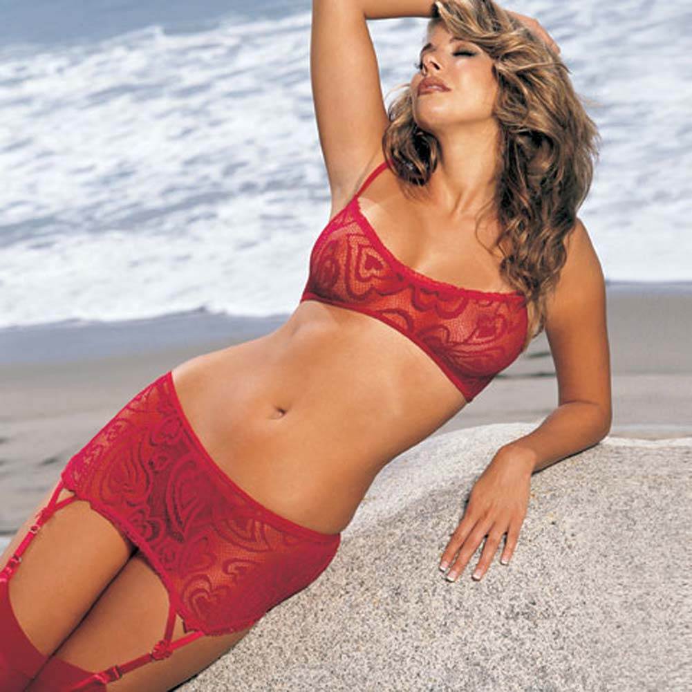 Alluring Heart Lace Bra Skirtini G-String 3 Pc Set Small Red - View #1