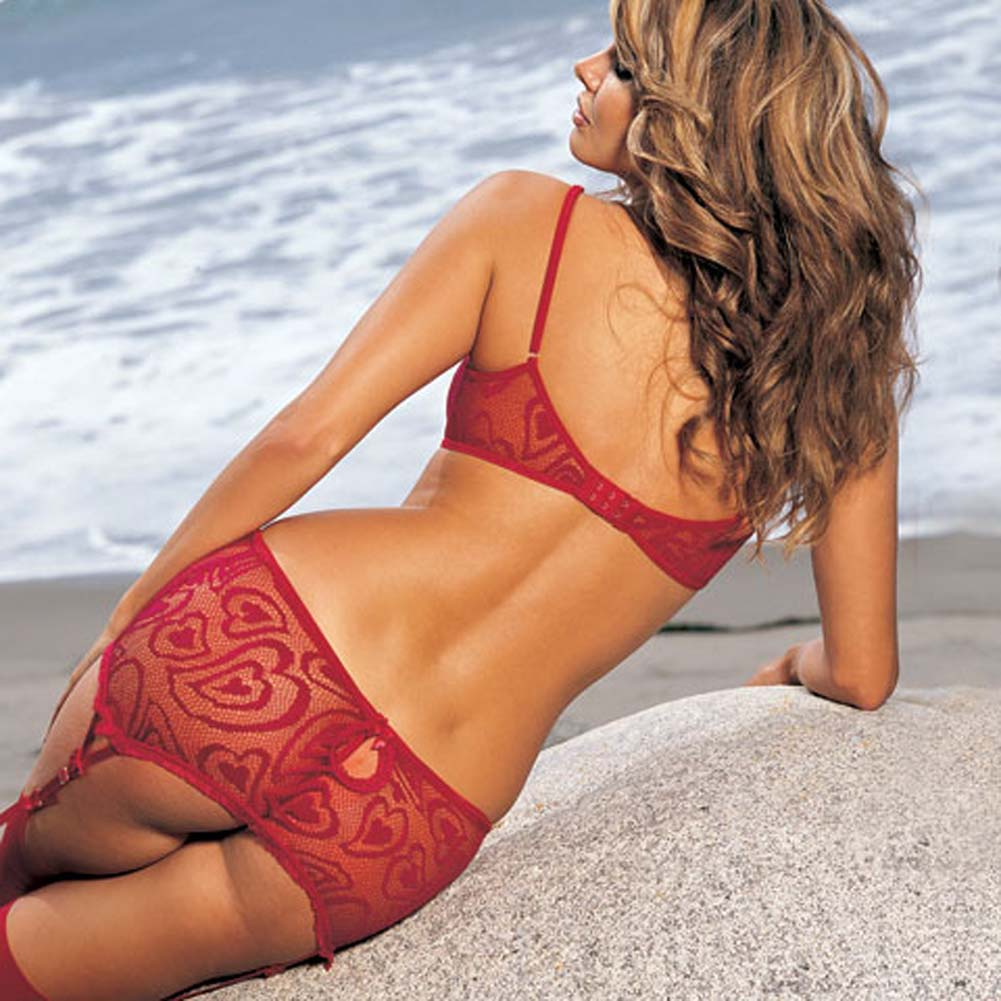 Alluring Heart Lace Bra Skirtini G-String 3 Pc Set Small Red - View #2