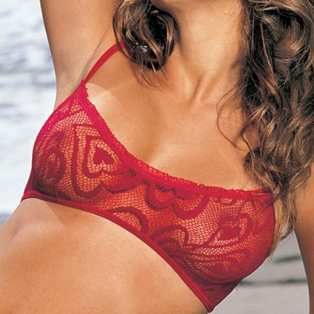 Alluring Heart Lace Bra Skirtini G-String 3 Pc Set Small Red - View #3