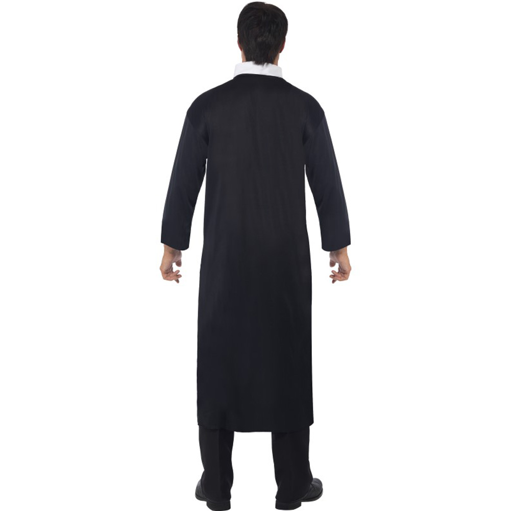 Smiffys Priest Costume with Long Robe and Collar Large Black - View #3