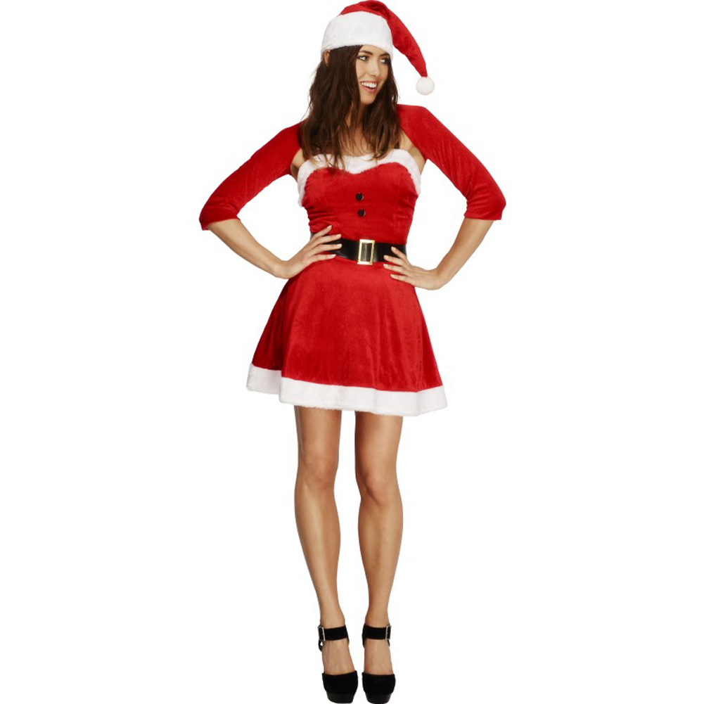 Fever Santa Babe Costume with Shrug Belt and Hat Red Medium - View #1