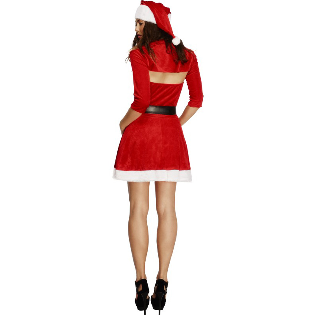 Fever Santa Babe Costume with Shrug Belt and Hat Small Red - View #2