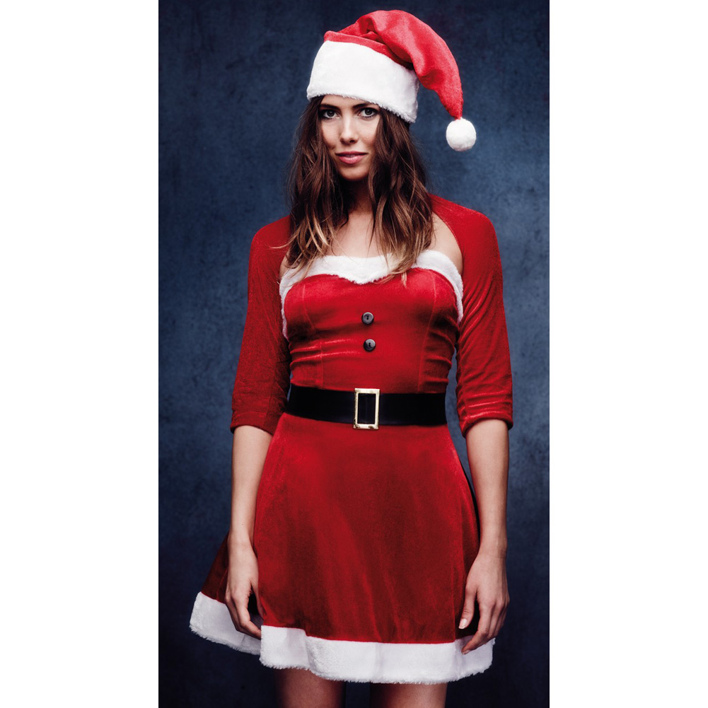 Fever Santa Babe Costume with Shrug Belt and Hat Small Red - View #4