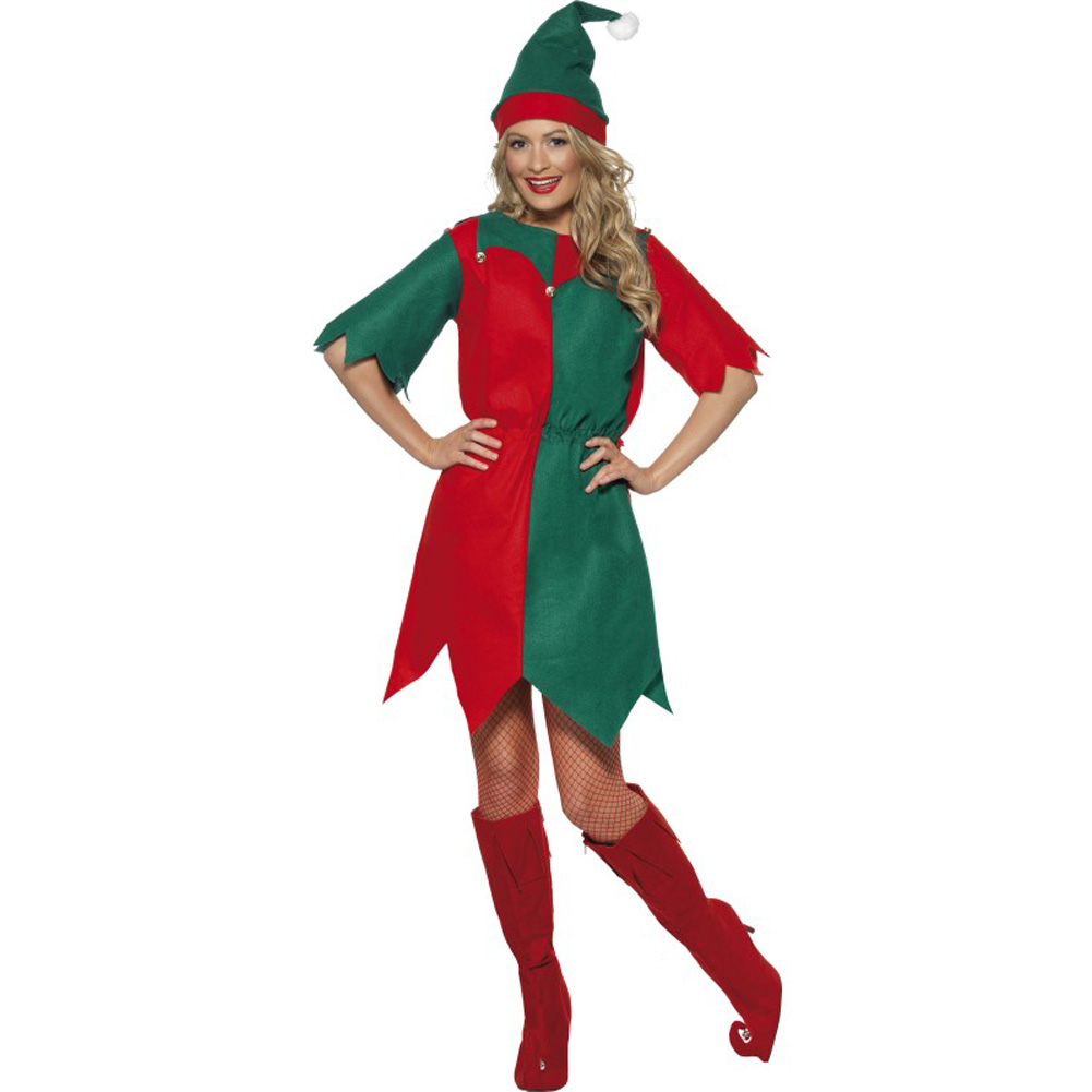 Smiffys Vintage Elf Costume Large Bright Red/Green - View #1