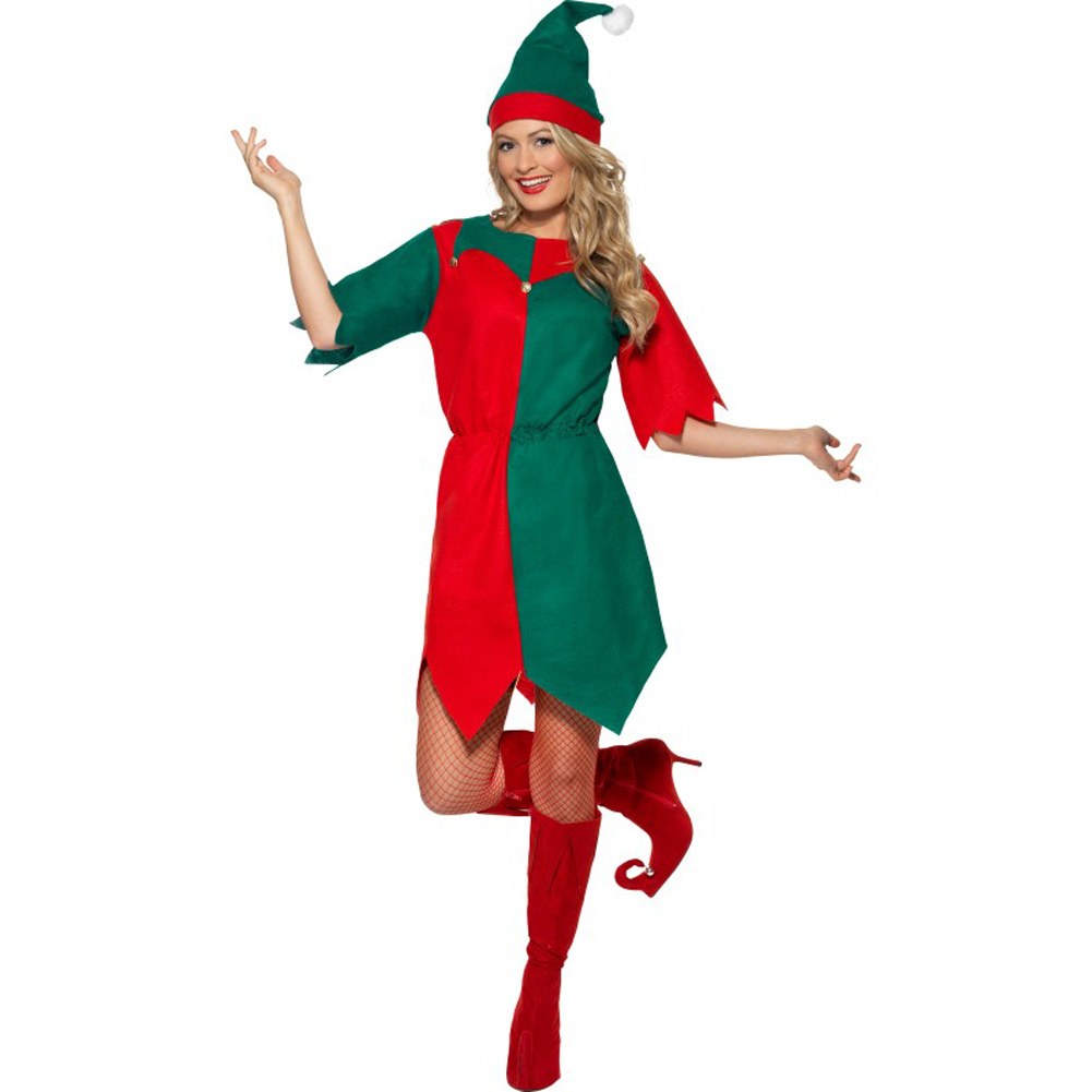 Smiffys Vintage Elf Costume Large Bright Red/Green - View #3