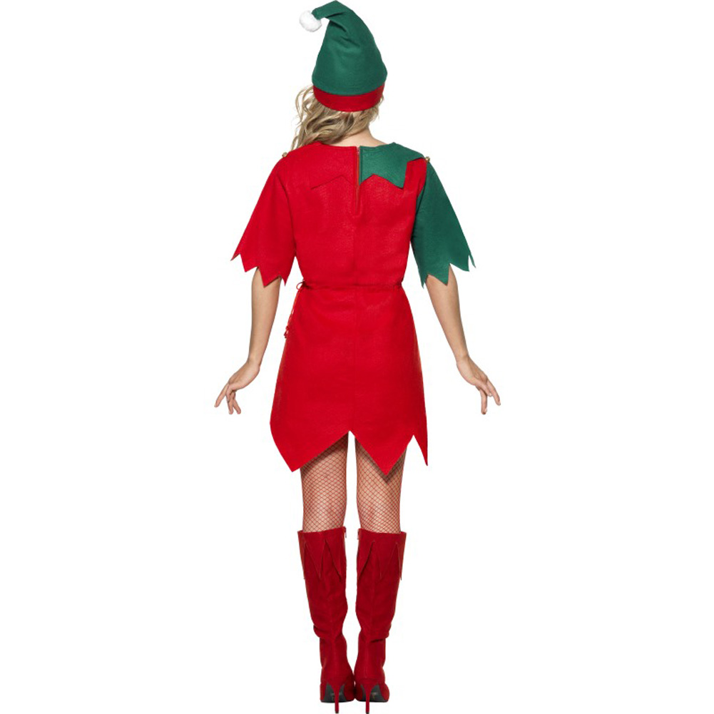 Smiffys Vintage Elf Costume Small Bright Red/Green - View #2