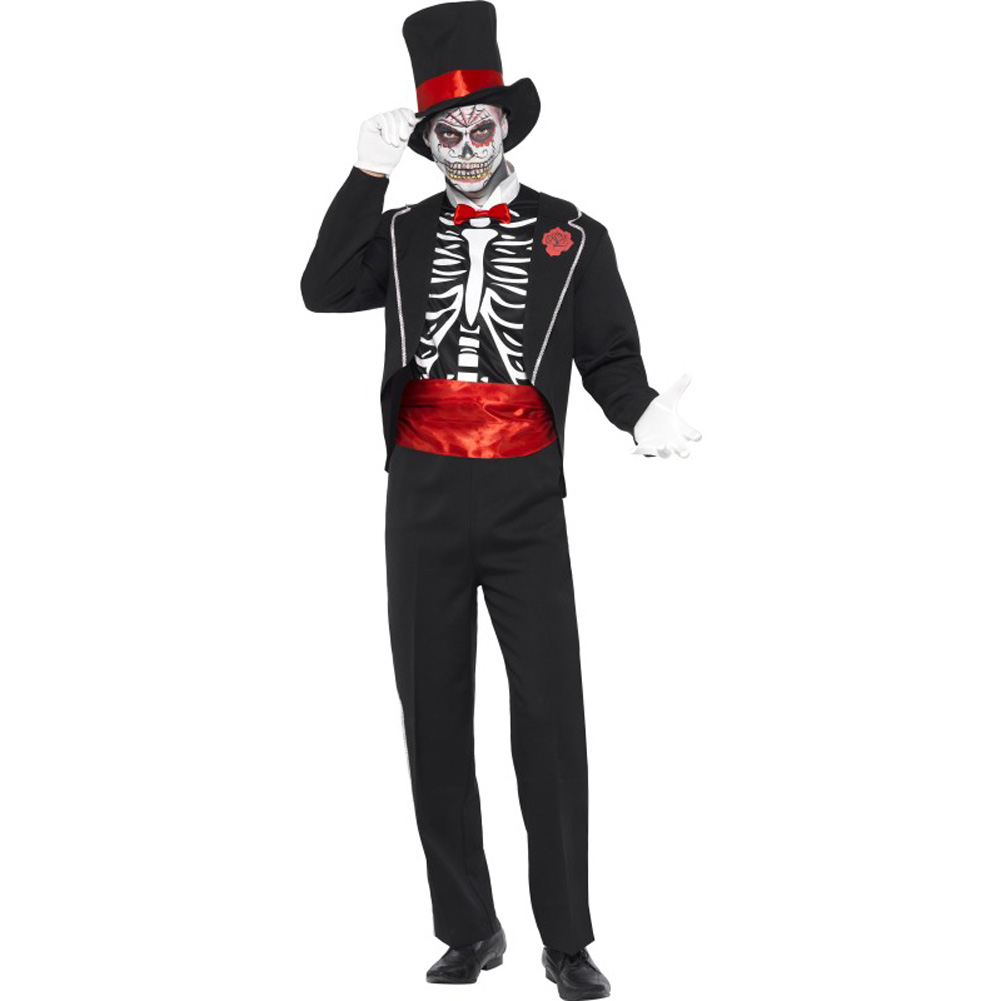 Smiffys Day of the Dead Costume for Men with Hat and Gloves Black/Red Medium - View #1