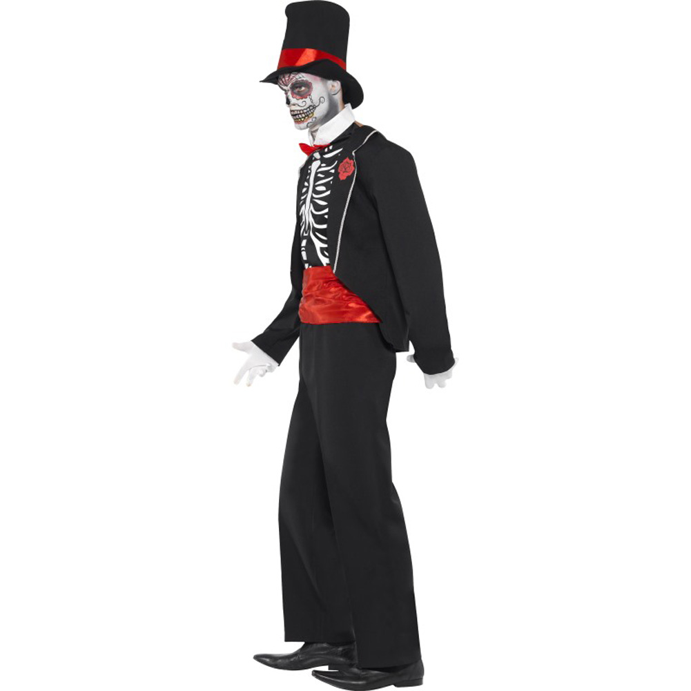 Smiffys Day of the Dead Costume for Men with Hat and Gloves Black/Red Medium - View #3