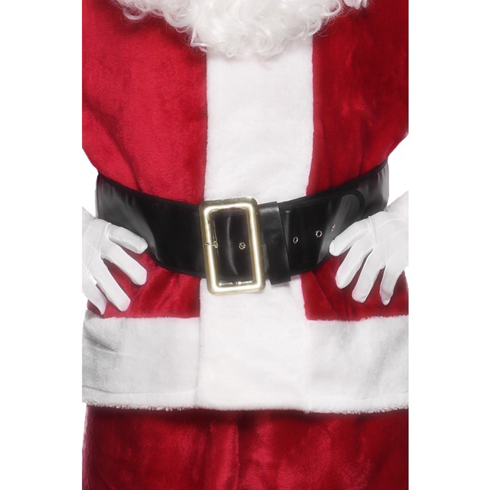 Smiffys Vintage Santa Belt with Gold Buckle One Size Black - View #1