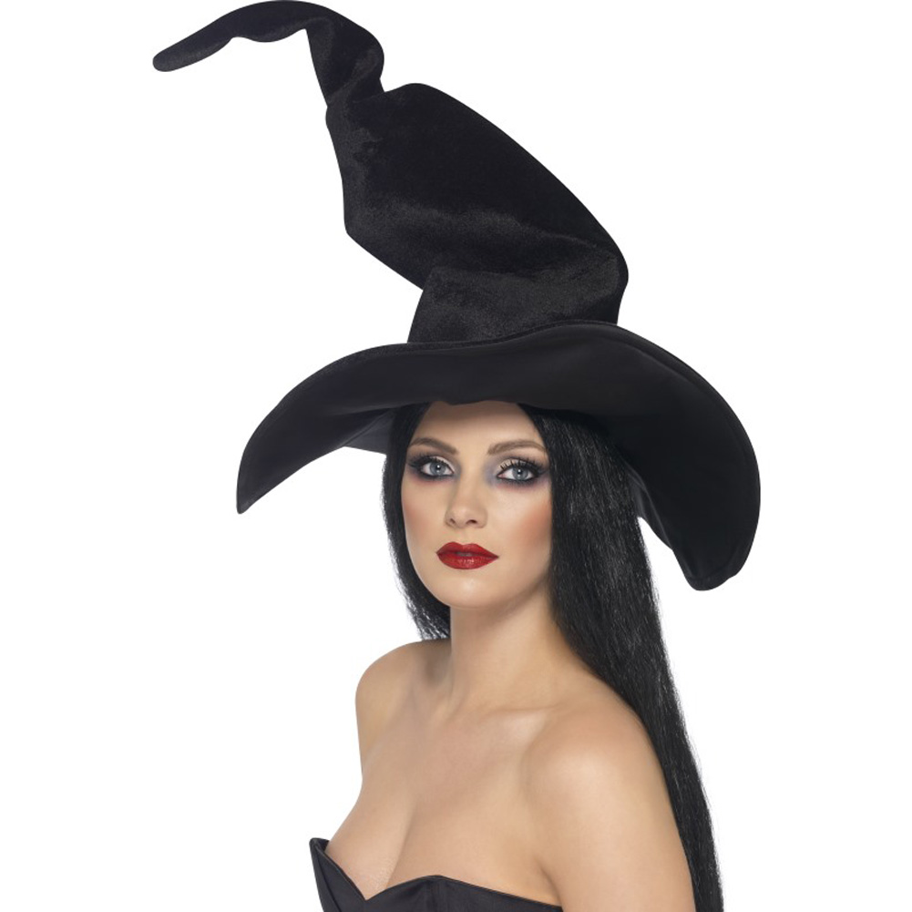 Smiffys Tall And Twisty Velour Witch Hat One Size Black - View #1