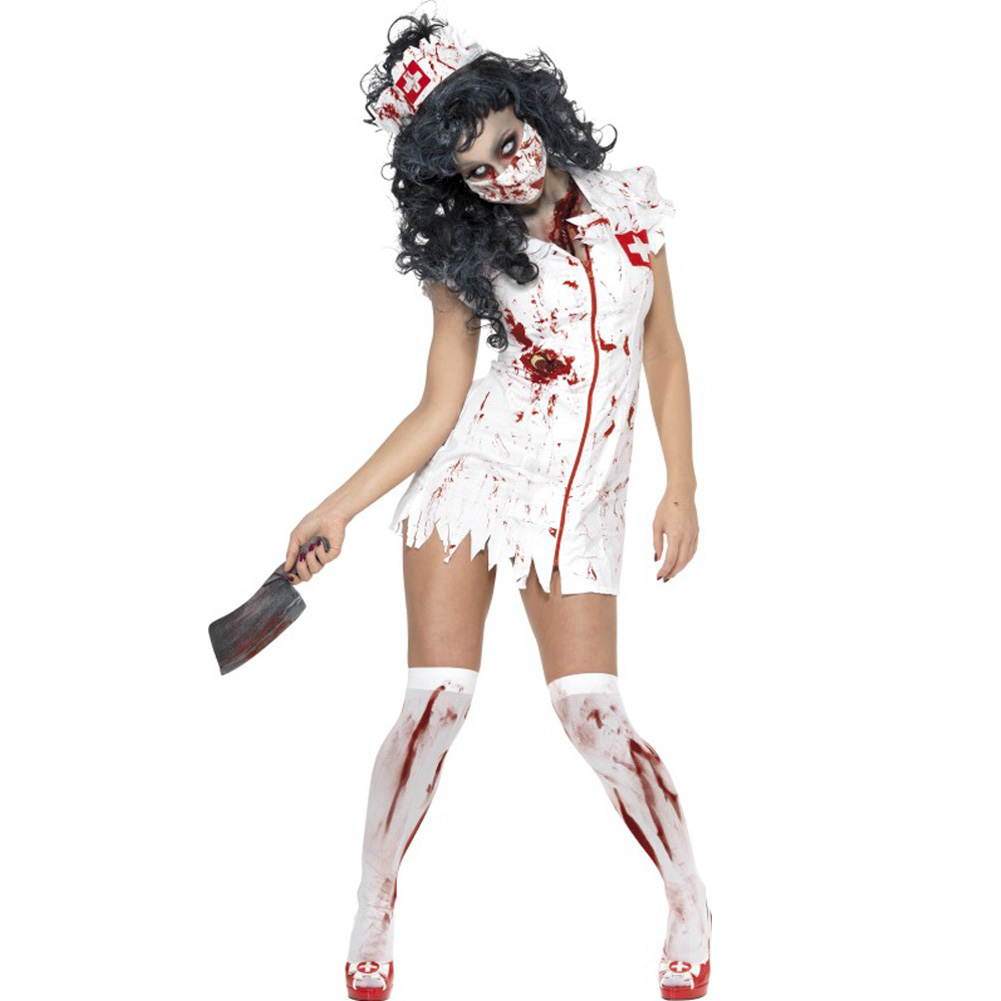 Smiffys Zombie Nurse Costume with Dress Mask and Hat White Small - View #1