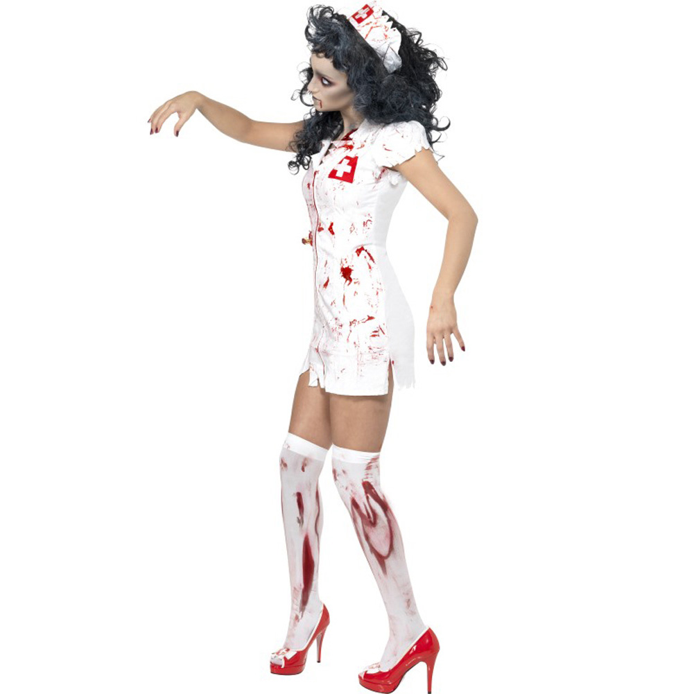 Smiffys Zombie Nurse Costume with Dress Mask and Hat White Small - View #3