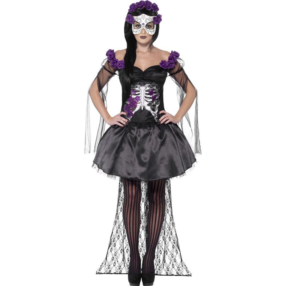 Smiffys Day of the Dead Senorita Costume with Headband and Mask Purple/Black Small - View #1