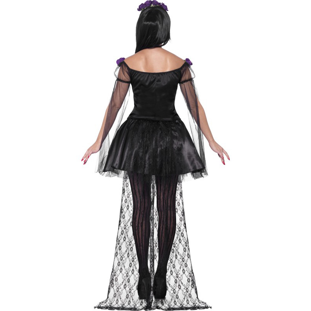 Smiffys Day of the Dead Senorita Costume with Headband and Mask Purple/Black Small - View #2
