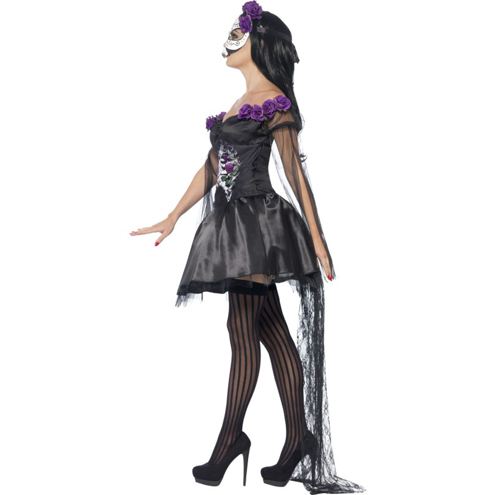 Smiffys Day of the Dead Senorita Costume with Headband and Mask Purple/Black Small - View #3