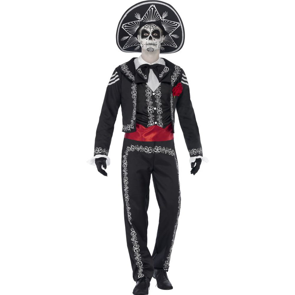 Smiffys Day of the Dead Senor Bones Costume with Hat White/Black/Red Extra Large - View #1