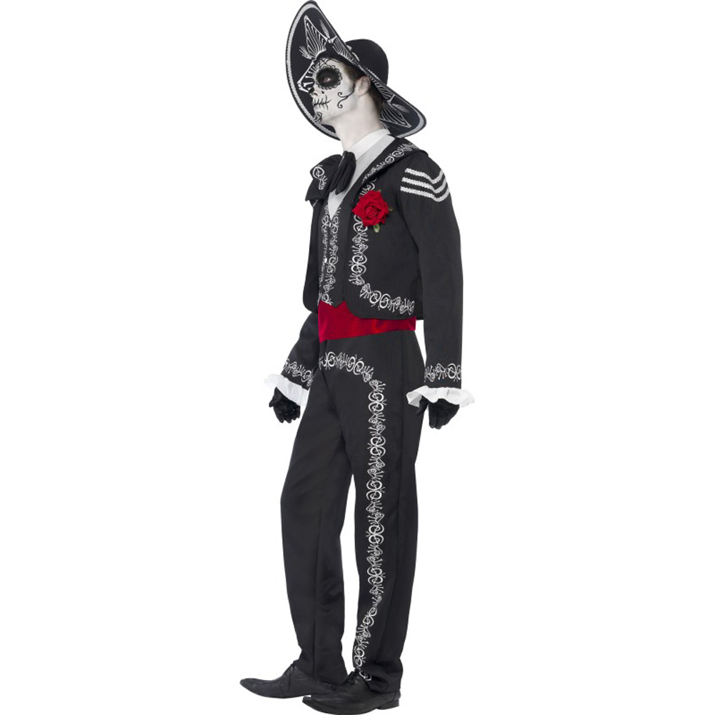 Smiffys Day of the Dead Senor Bones Costume with Hat White/Black/Red Extra Large - View #2