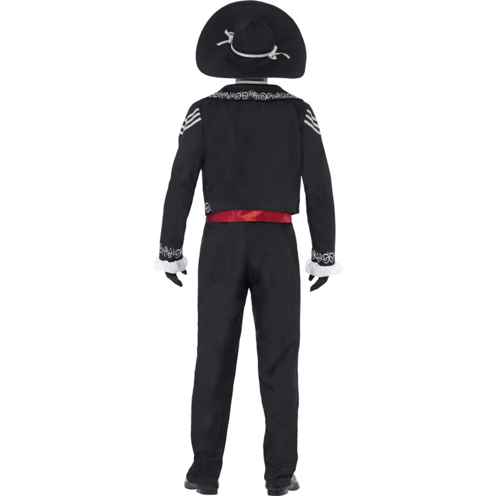 Smiffys Day of the Dead Senor Bones Costume with Hat White/Black/Red Extra Large - View #3