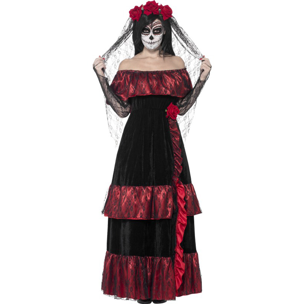 Smiffys Day of the Dead Bride Costume with Rose Veil Red/Black Large - View #1