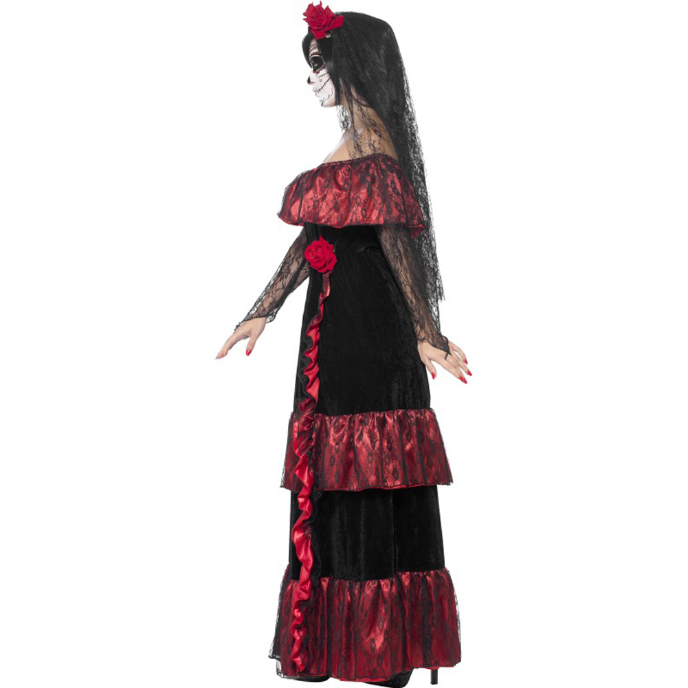 Smiffys Day of the Dead Bride Costume with Rose Veil Red/Black Large - View #3