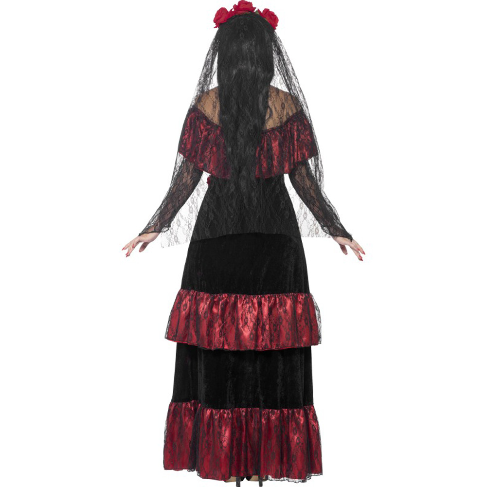 Smiffys Day of the Dead Bride Costume with Rose Veil Red/Black Plus Size 1X - View #2