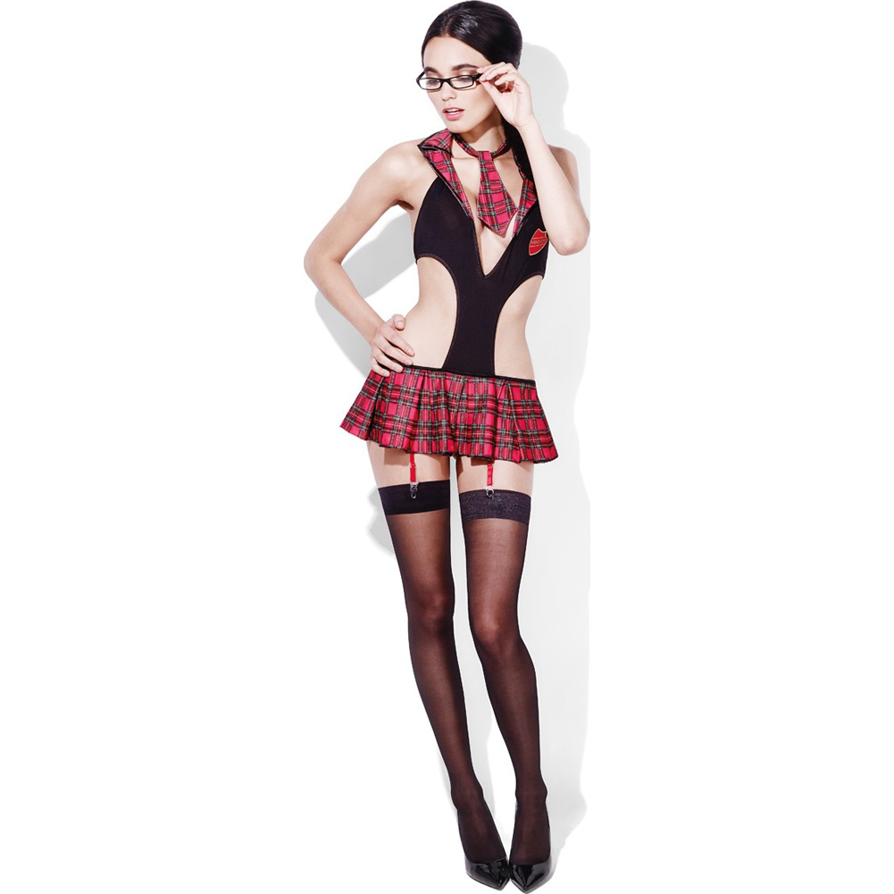 Fever Student Head Girl Schoolgirl Set with Panties and Tie Plaid/Black Small - View #3