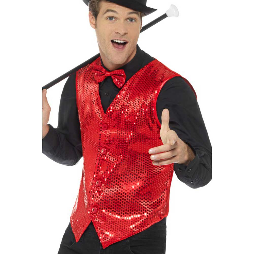 Smiffys Sequin Waistcoat Large Red - View #1