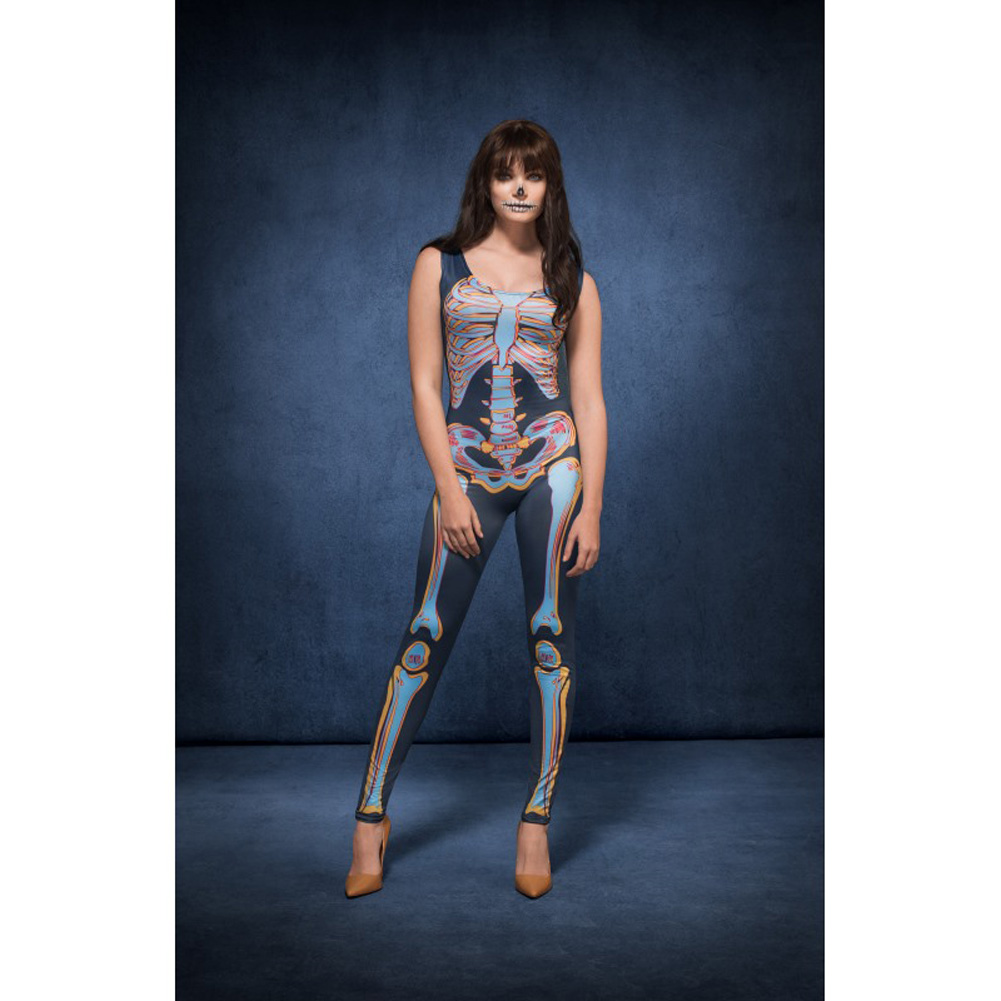Fever Sexy Skeleton Costume by Smiffys Extra Small Blue - View #2
