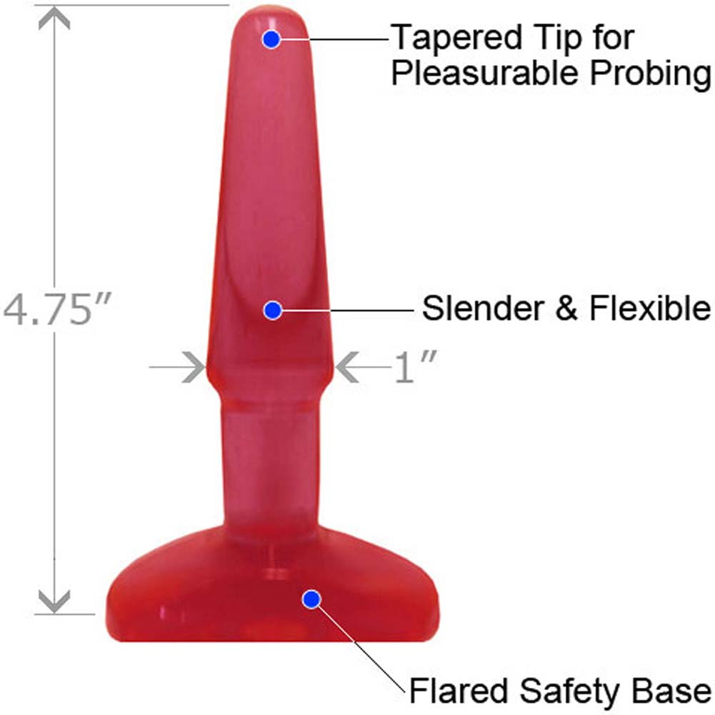 "Advanced BumPlug Small Jelly Butt Plug 4.75"" Red - View #1"