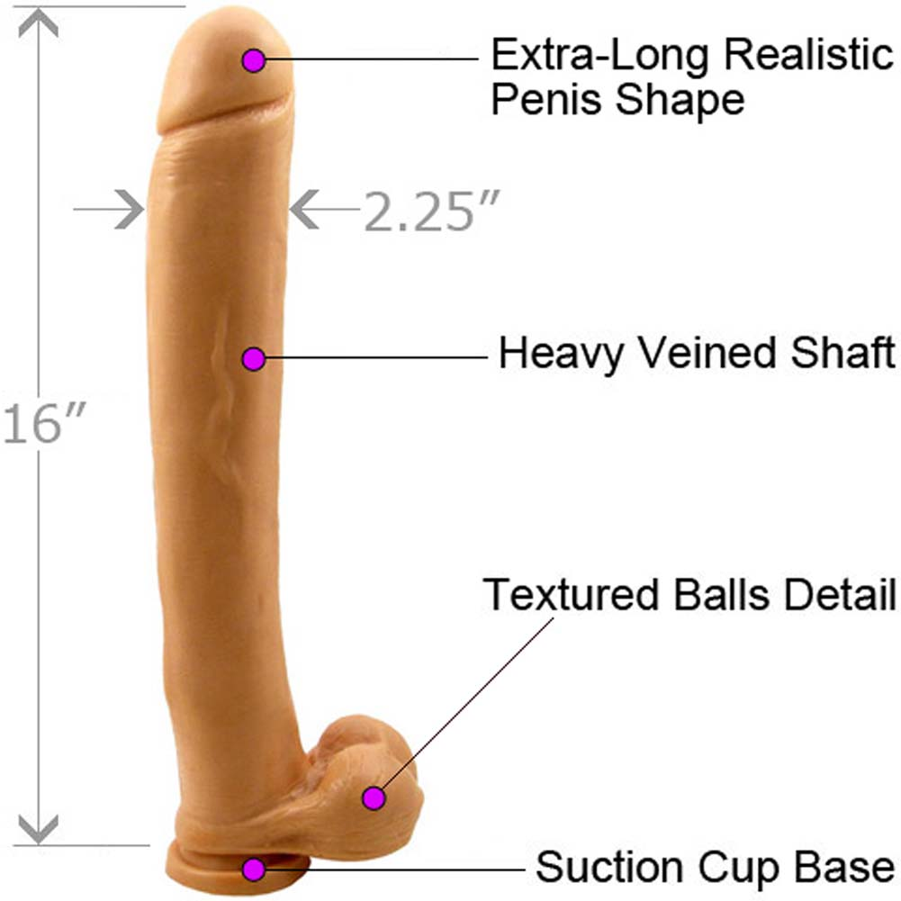 """Ignite Exxxtreme Life Like Dong with Balls and Suction Base 16"""" Flesh - View #1"""