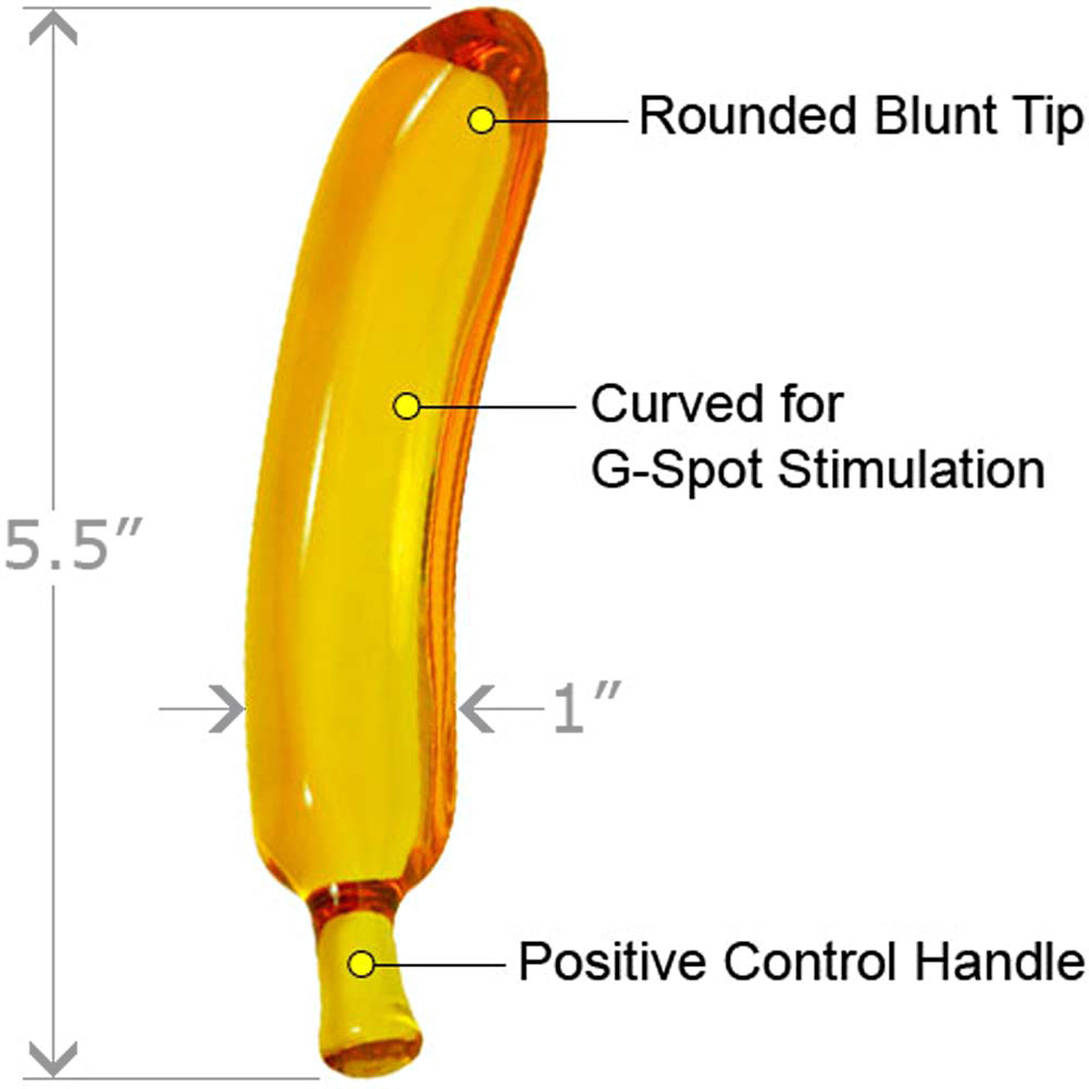 "Amber Banana G-Spot Glass Dildo with Storage Bag 5.5"" - View #1"