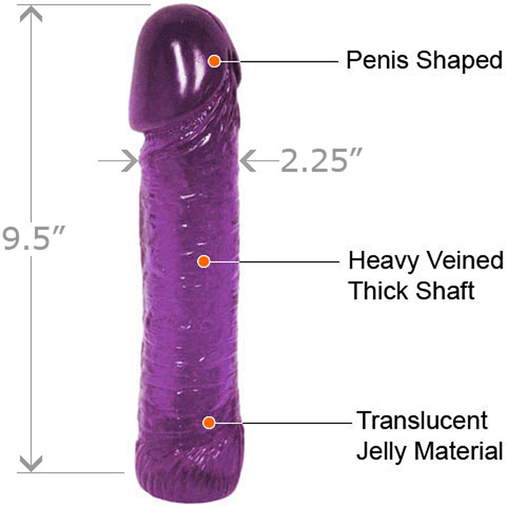 "Life-Like Oversized Jelly Cock 9"" Kinky Purple - View #1"